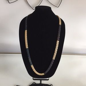 Gold Blue and Brown Ombre Mesh Long Necklace